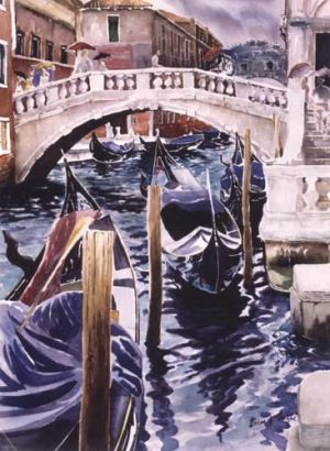 """Discussion"" or rainy day in venice is a print, giclee on wc paper 30x22 200.00"