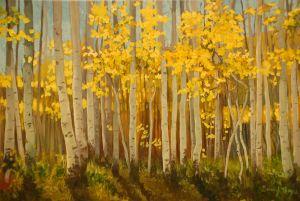 """Autumn Aspens"" oil 18""x24"""