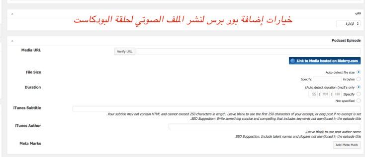 لقطة للخيارات الإضافية التي توفرها إضافة بور برس PowerPress لنشر حلقة البودكاست