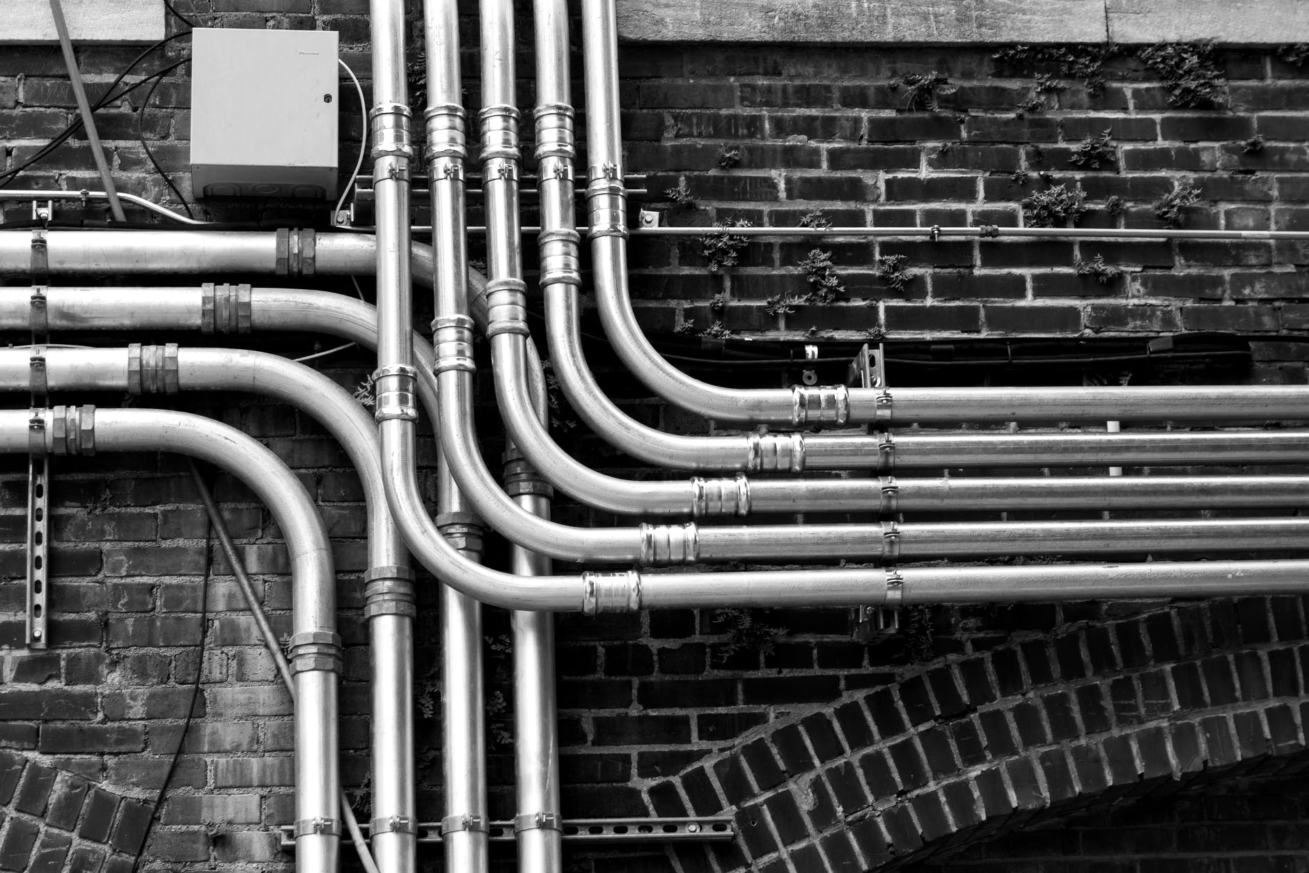 pipelines mounted on wall