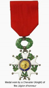 Medal worn by a Chevalier (Knight) of the Légion d'Honneur.