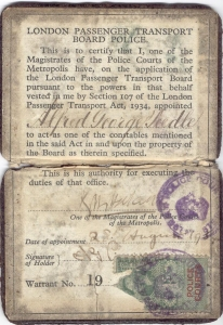 Alf Peedle's LPTB Warrant Card