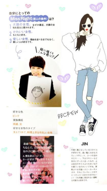 防弾少年団 BTS ジン (Jin) 好きな女性タイプ