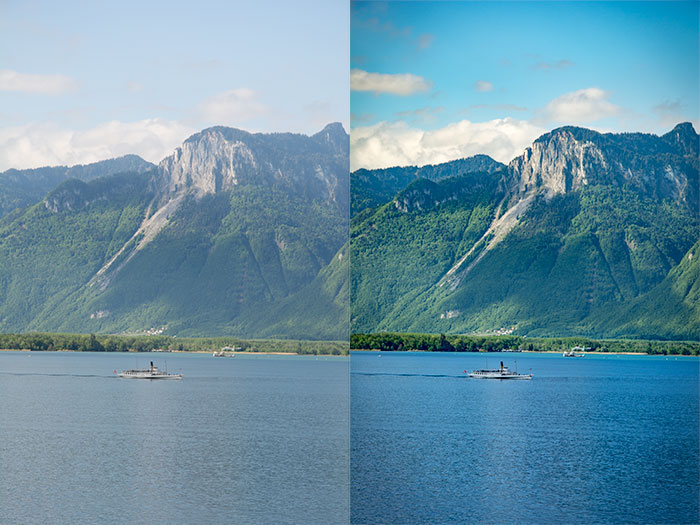 Two versions of an image, the original and a version using Lightrooms dehaze function
