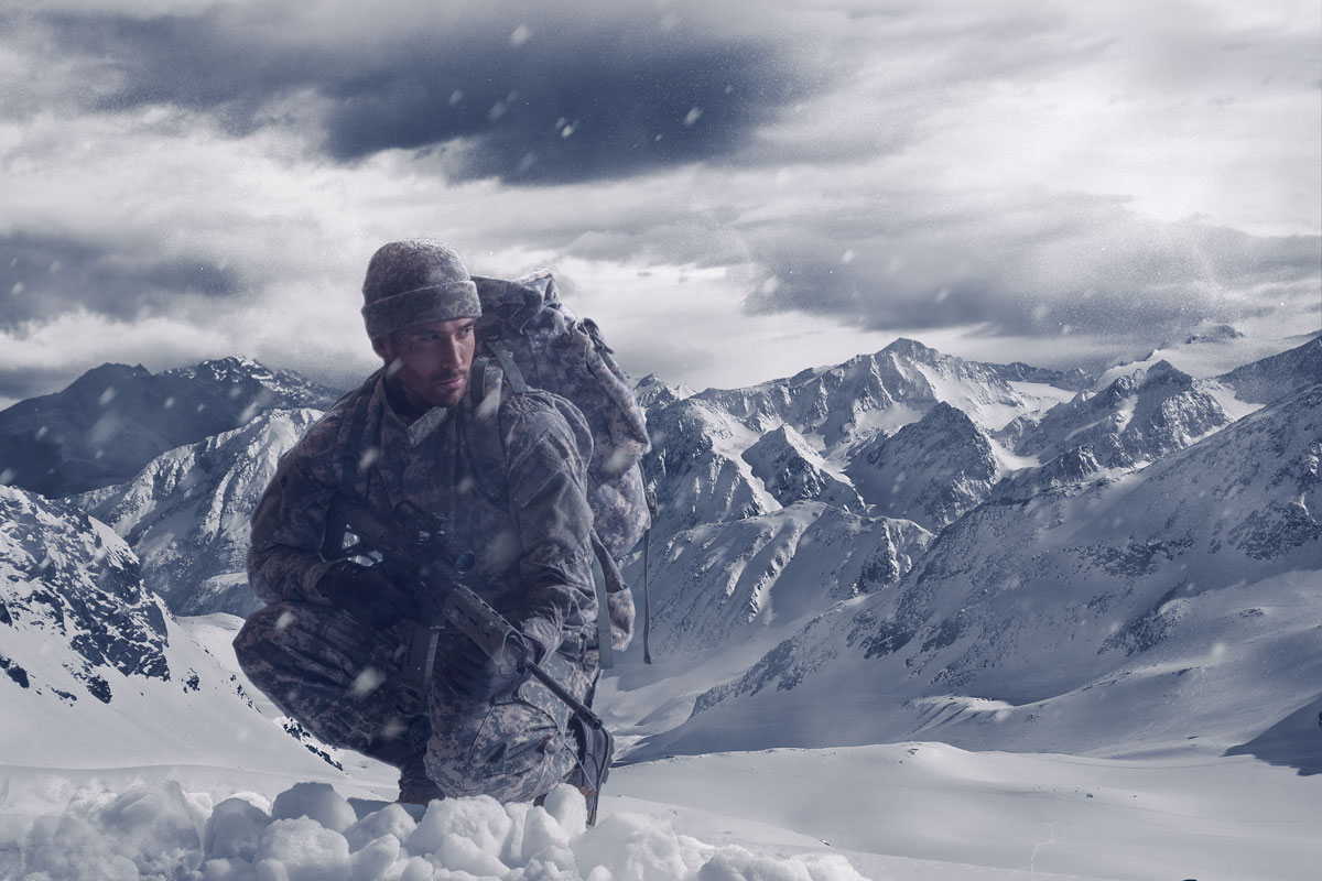 Phlearn.com arctic soldier image compositing tutorial.