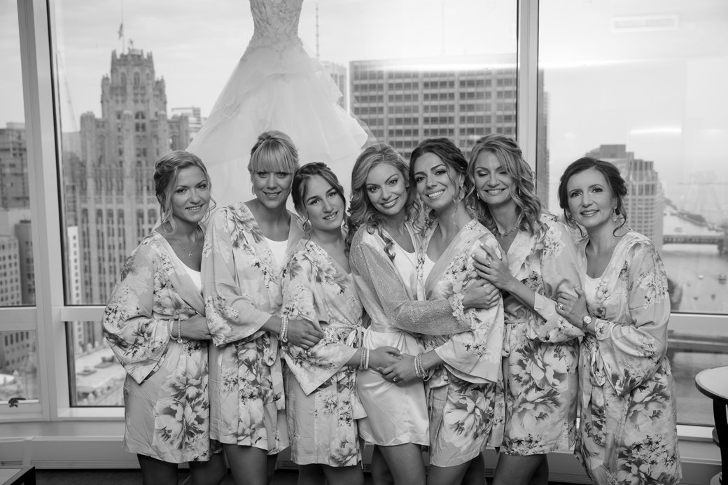Floral Bachelorette Robes   Rose Gold Sequins Bridesmaids Gowns   Chicago Wedding   Cafe Brauer Wedding   Bubbly Moments