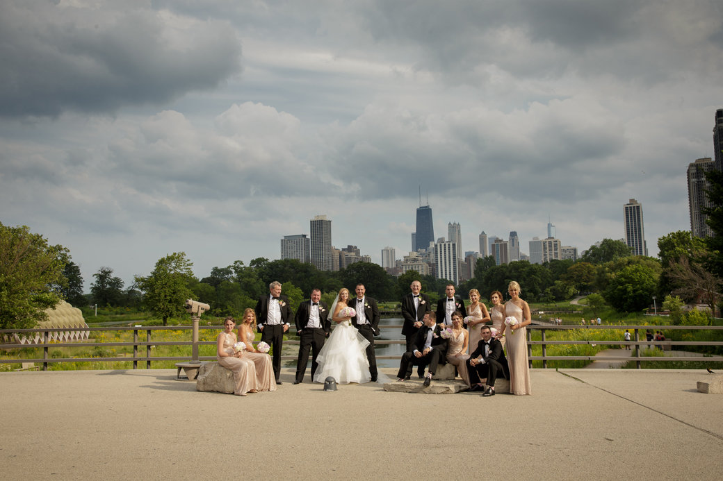 Rose Gold Sequins Bridesmaids Dresses   Black Tuxedos   Bridal Party   Cafe Brauer   Chicago Wedding   Chicago Skyline   Bubbly Moments