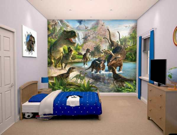 kids bedroom sticker wall murals Walltastic Dinosaur Land Kids Wall Mural | Bubs n Grubs