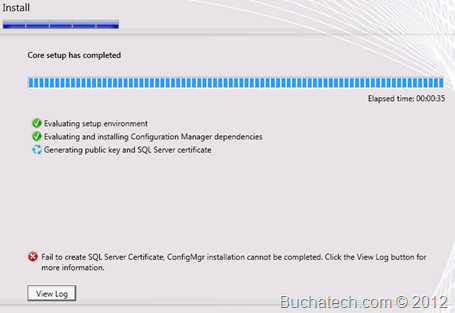 SCCM 2012 Install: Failed to create SQL Server Certificate