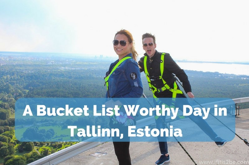 Standing on Top of the TV Tower in Tallinn, Estonia