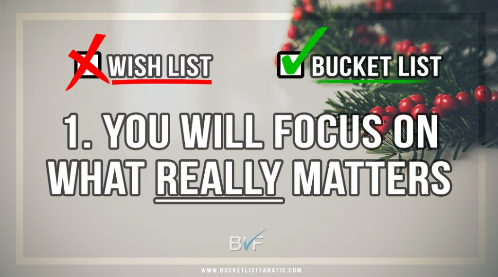Drop the Christmas Wish List - Make Bucket List - Focus on What Really Matters - by Bucket List Fanatic