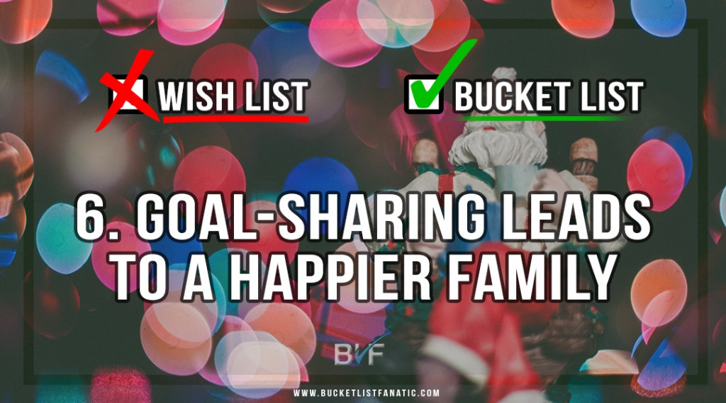 Drop the Christmas Wish List - Make Bucket List - Goal Sharing Leads to Happier Family by Bucket List Fanatic