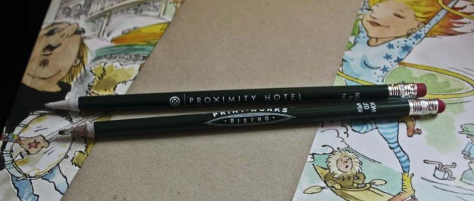 Newpaper pencils at Proximity Hotel