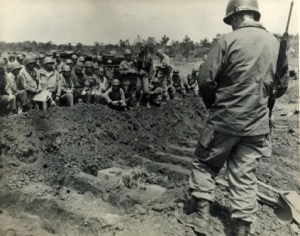 Funeral for Ernie Pyle on Okinawa.