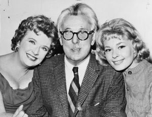 """Thurber with actresses Peggy Cass, left, and Joan Anderson from """"A Thurber Carnival."""""""