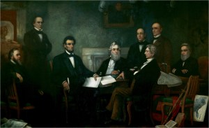 Painting by Francis Bicknell Carpenter showing Lincoln presenting the Emancipation Proclamation to his cabinet.