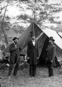 Allan Pinkerton with President Lincoln and George McClellan at Antietam.