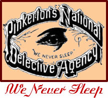 """Logo of the Pinkerton Detective Agency. The logo helped give rise to the term """"private eye."""""""