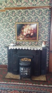 Fireplace in family parlor area.