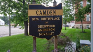 Historical marker for Sherwood Anderson in Camden, Ohio. Anderson was born there, but his family moved to Clyde just a year after his birth.