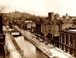 "Cincinnati's Over-the-Rhine neighborhood in the late 1800s. The neighborhood was located north of the Miami-Erie canal route, now Central Parkway, and was home to hundreds of German immigrants. ""The Rhine"" was a local joking reference to the Miami Erie Canal since so many Germans lived on the other side of it."