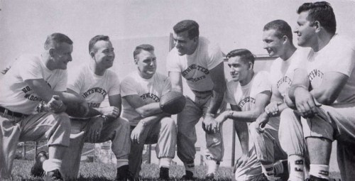 Coach Ara Parseghian at center with Northwestern coaching staff in 1956.