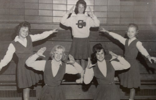 Cheerleaders from Greenhills Junior-Senior High School in Cincinnati, Ohio in 1961. Wright's poem is absent of cheerleaders, pep rallies and other elements that are part of football's pageantry. Incidentally, the cheerleader at lower left in the front row is Patty Rebholz, murdered in 1963 in one of Cincinnati's most notorious murder cases. Author's photo from the 1962 Greenhills yearbook.