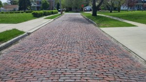 Old cobblestone street in Clyde, Ohio (author's photo).