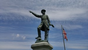 Statue of General James McPherson near the entrance to McPherson Cemetery. McPherson was the highest ranking Union officer killed during the Civil War. (Author's Photo).