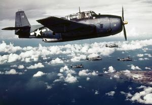 U.S. planes attacking Wake Island in November, 1943.