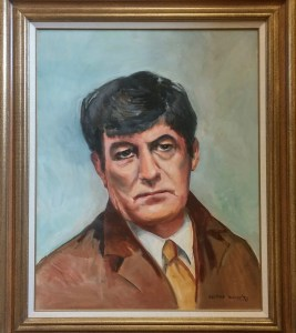 This handsome painting by George White of the Alfred Stieglitz photo of Anderson from 1923 hangs in the Thad Hurd Room of the Clyde Public Library (author's photo).