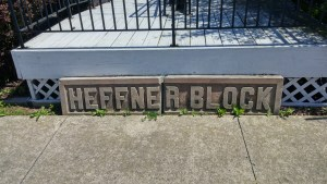 Lettering for the old Heffner Block on display at the Clyde Preservation League's Museum (author's photo).