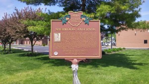 Ohio historical marker at the old depot area about Sherwood Anderson (author's photo).