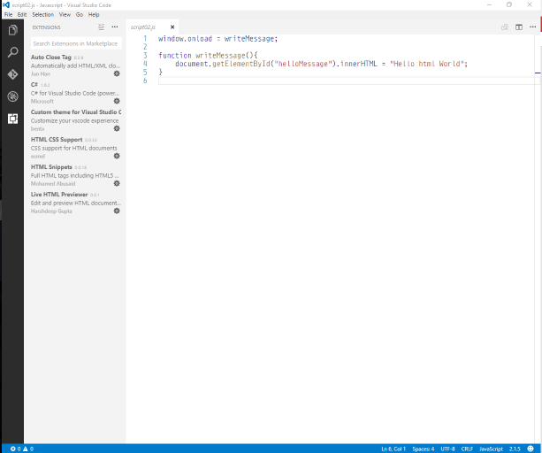Visual Studio Code Window