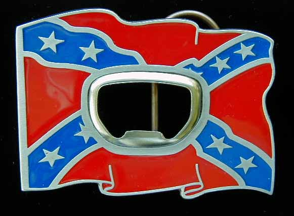 "L-259E Rebel Flag With Bottle Opener 3"" by 2 1/4"""