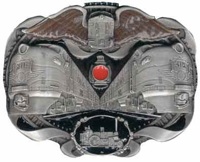 Trains on a belt buckle