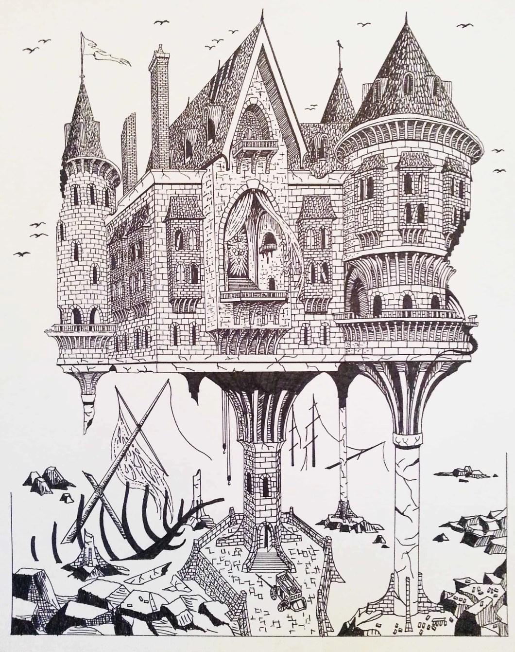 Fantasy castle pen and ink illustration by Clark Giesbrecht