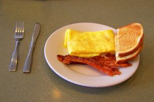 Simple, but good-omelet and bacon; photo by Lynne Goldman
