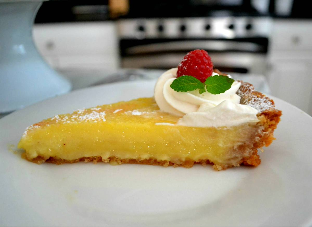 Lemon Custard Tart with Honey Almond Crust