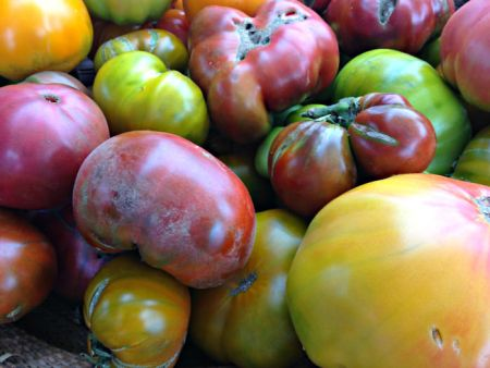 Heirloom tomatoes from Blooming Glen Farm. Photo credit Lynne Goldman