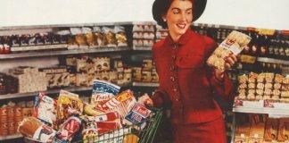shopping cart woman 1950's