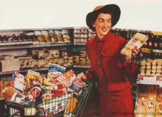 shopping cart woman 1950's