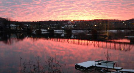 Sunrise over Lambertville from Fred's; photo credit L. Goldman