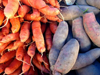 Carrots and sweet potatoes from Blooming Glen Farm photo credit Lynne Goldman
