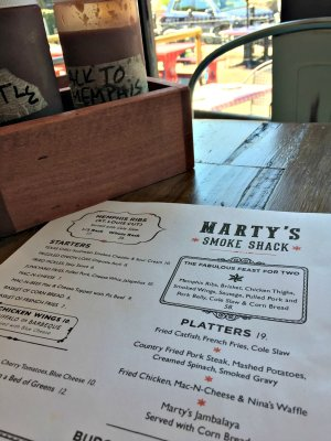 Marty's Smoke Shack menu; photo credit Lynne Goldman