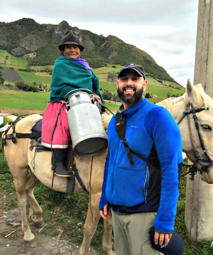 Justin Zaslow with dairy farmer in Turucucho. Photo courtesy Pierre's Chocolates
