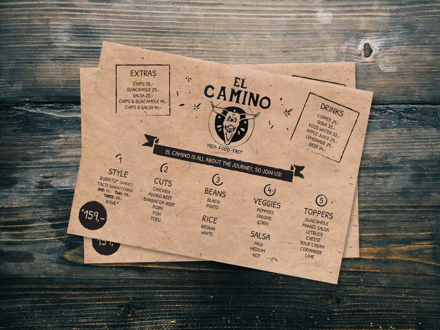 Bucks Creative El Camino Menu Design
