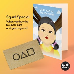 Squid Game Doll Greeting Card, Birthday Card and Business Card Deal