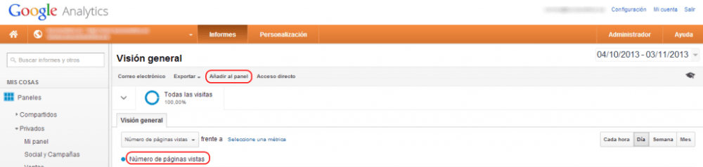Añadir al panel en Google Analytics