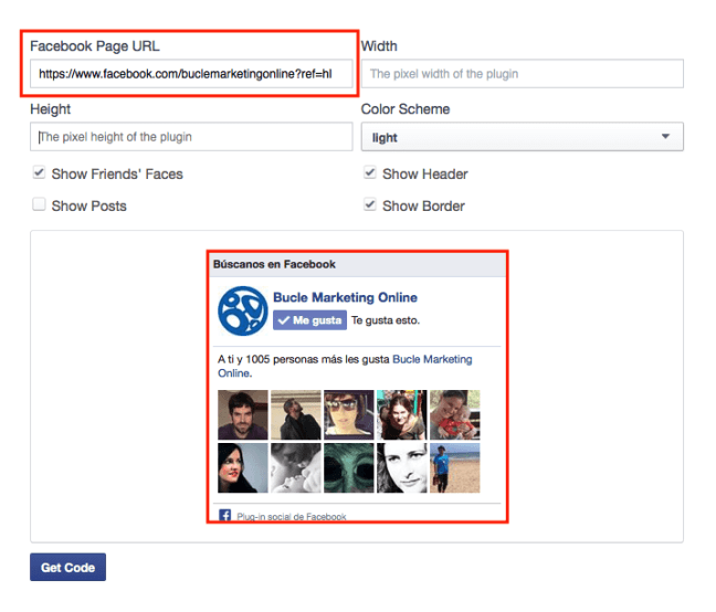 box de facebook